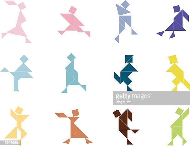 stockillustraties, clipart, cartoons en iconen met tangram people set | 002 - china oost azië