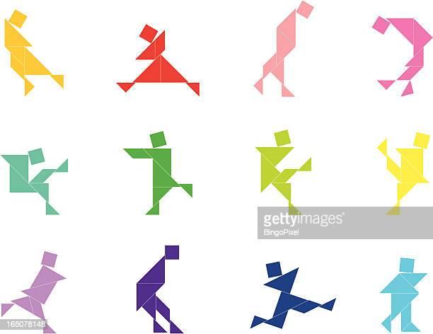 tangram people set | 009 - arranging stock illustrations