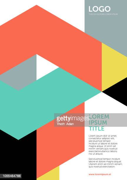 tangram shapes – layout or cover template 1 (geometric minimalism set) - flyer leaflet stock illustrations