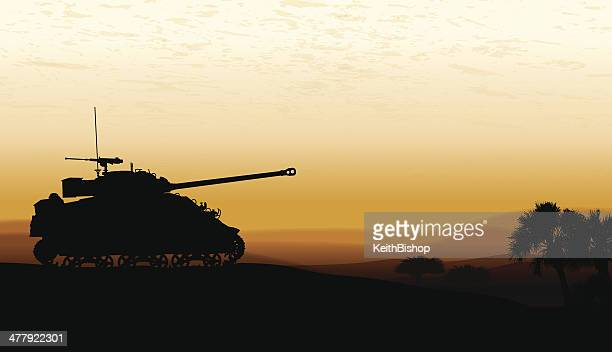 tank at twilight - war background - world war ii stock illustrations