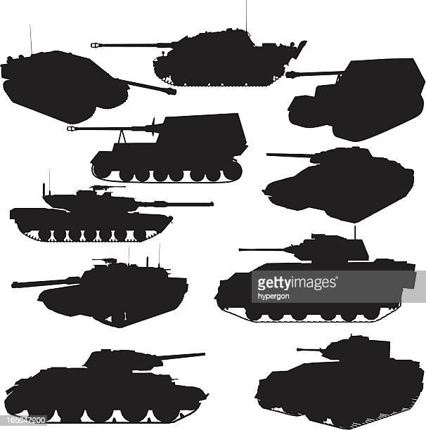 tank silhouette collection - tank stock illustrations, clip art, cartoons, & icons