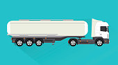Tank truck and fuel tanks design flat style