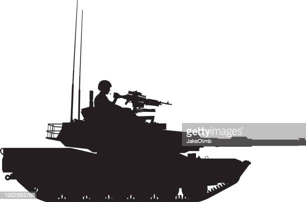 tank with gunner silhouette - us military stock illustrations