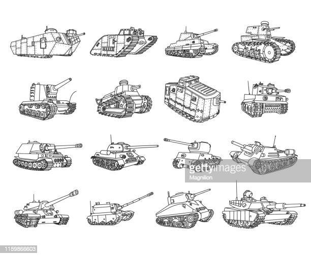 tanks doodle set - armored tank stock illustrations