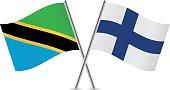 Tanzania and Finland flags. Vector.