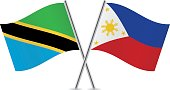 Tanzania and Philippines flags. Vector illustration.