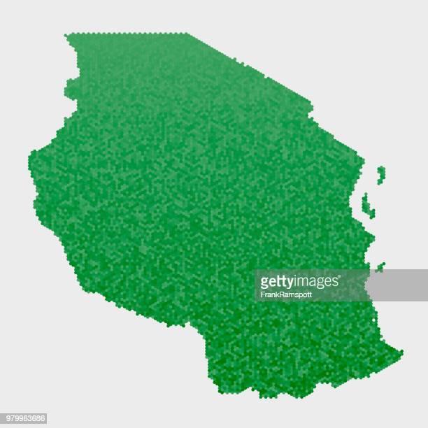 Tansania Land Map grünen Sechseck-Muster