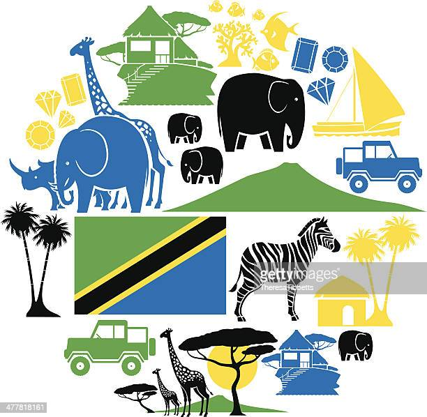 tanzania icon set - mt kilimanjaro stock illustrations, clip art, cartoons, & icons