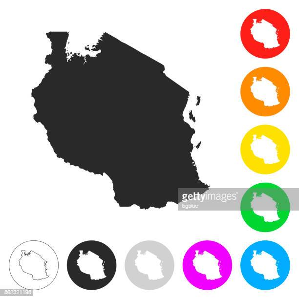 tanzania map - flat icons on different color buttons - tanzania stock illustrations