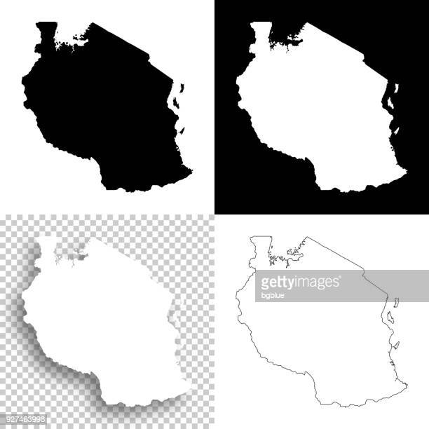 tanzania maps for design - blank, white and black backgrounds - tanzania stock illustrations