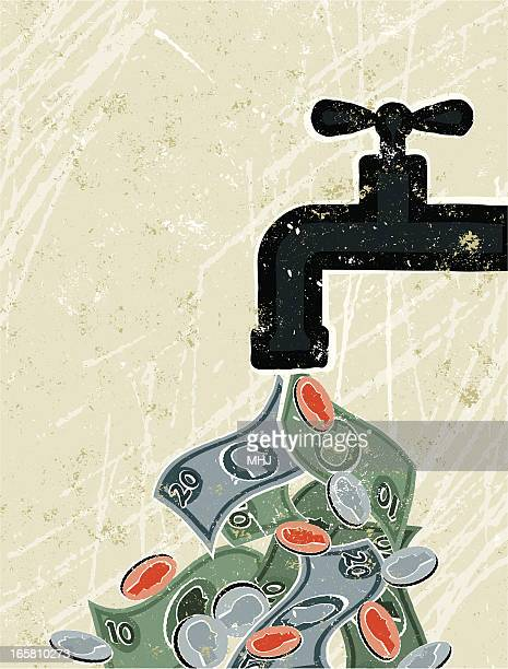 tap ( faucet ) and money - cash flow stock illustrations, clip art, cartoons, & icons