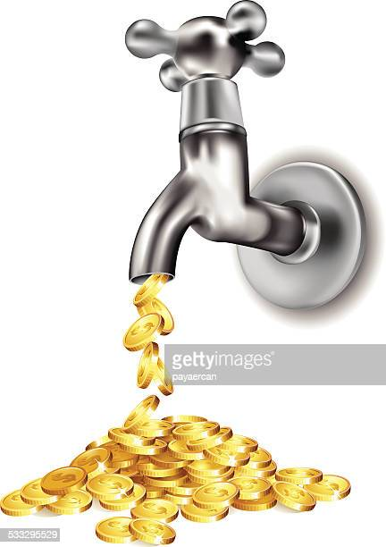 tap and money - money down the drain stock illustrations, clip art, cartoons, & icons