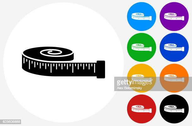 tape measure icon on flat color circle buttons - tape measure stock illustrations, clip art, cartoons, & icons