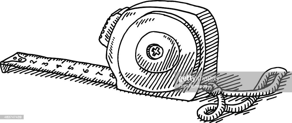 tape measure tool drawing vector art getty images