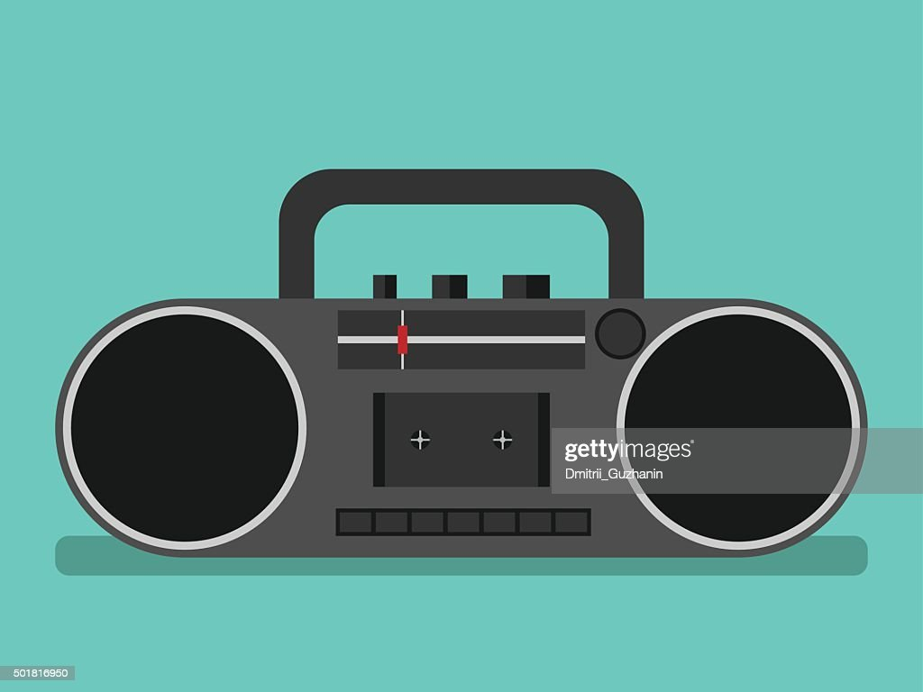 Tape recorder on blue