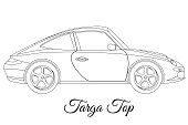 Targa top car body type outline