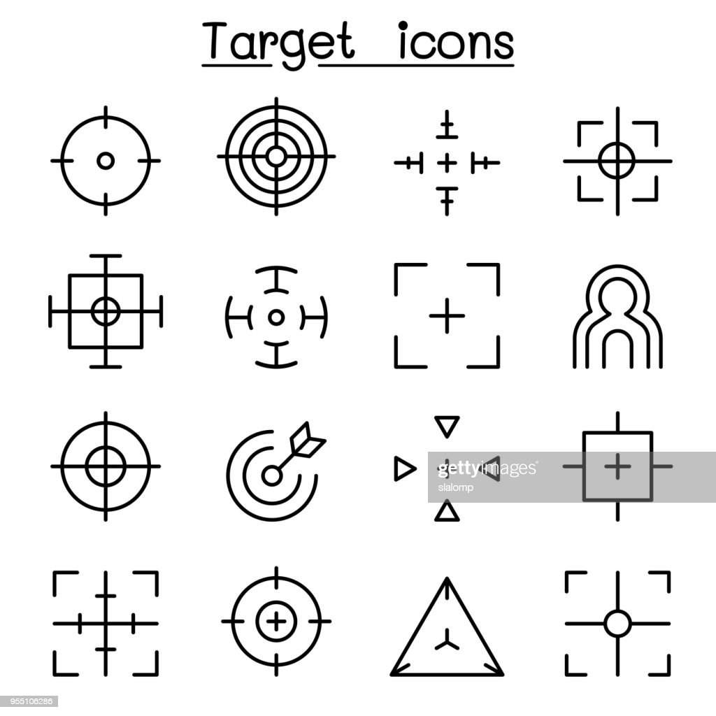 Target & Aim icon set in thin line style