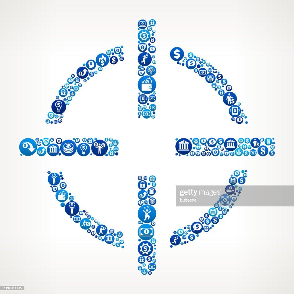 Ziel Ziel Geld blaues Symbol Muster Hintergrund : Stock-Illustration