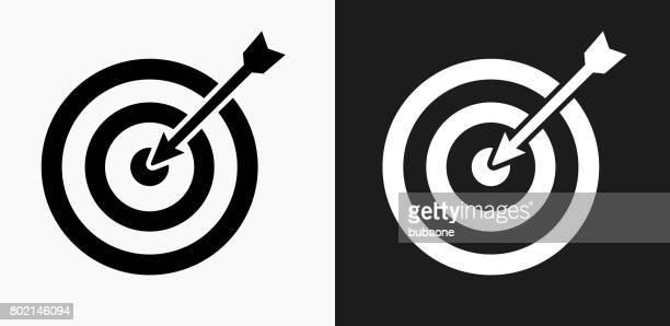 Ziel- und Pfeilsymbol auf schwarz-weiß-Vektor-Hintergründe