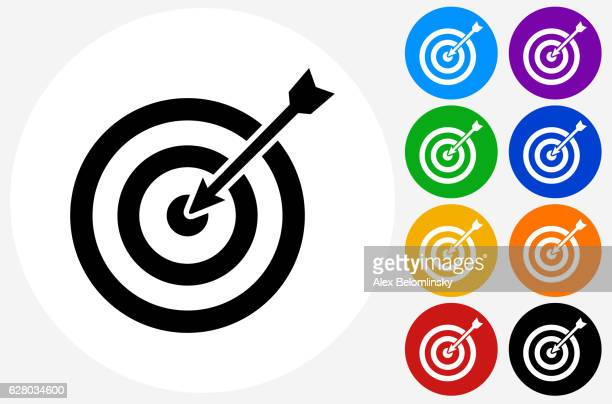 Target and Arrow Icon on Flat Color Circle Buttons