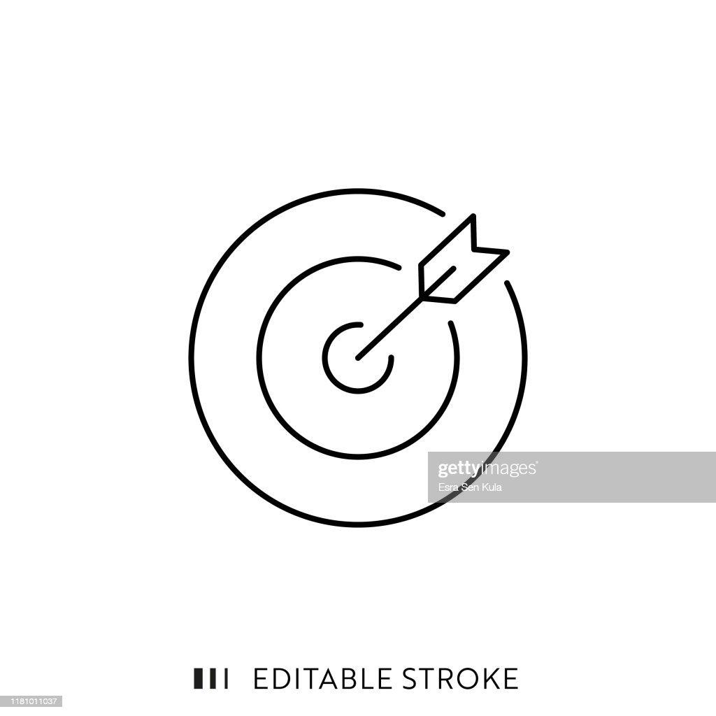 Ziel- und Pfeilsymbol mit editierbarem Strich und Pixel perfekt. : Stock-Illustration