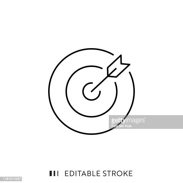 target and arrow icon with editable stroke and pixel perfect. - finance and economy stock illustrations