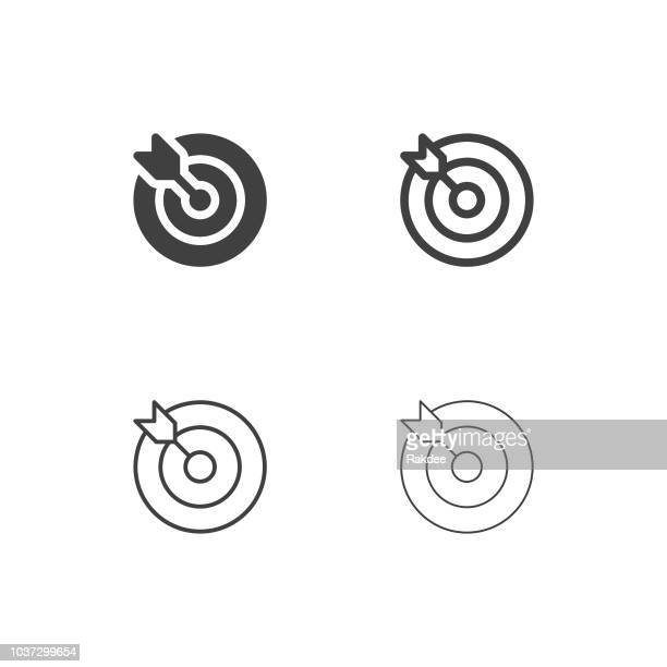 target and arrow icons - multi series - mid section stock illustrations