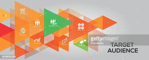 ターゲットオーディエンスのバナーとアイコン - データマイニング点のイラスト素材/クリップアート素材/マンガ素材/アイコン素材