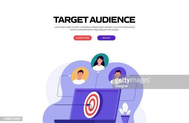 target audience concept vector illustration für website banner, werbe- und marketingmaterial, online-werbung, business presentation etc. - zielgruppe stock-grafiken, -clipart, -cartoons und -symbole