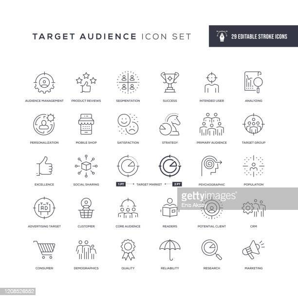 target audience editable stroke line icons - anticipation stock illustrations