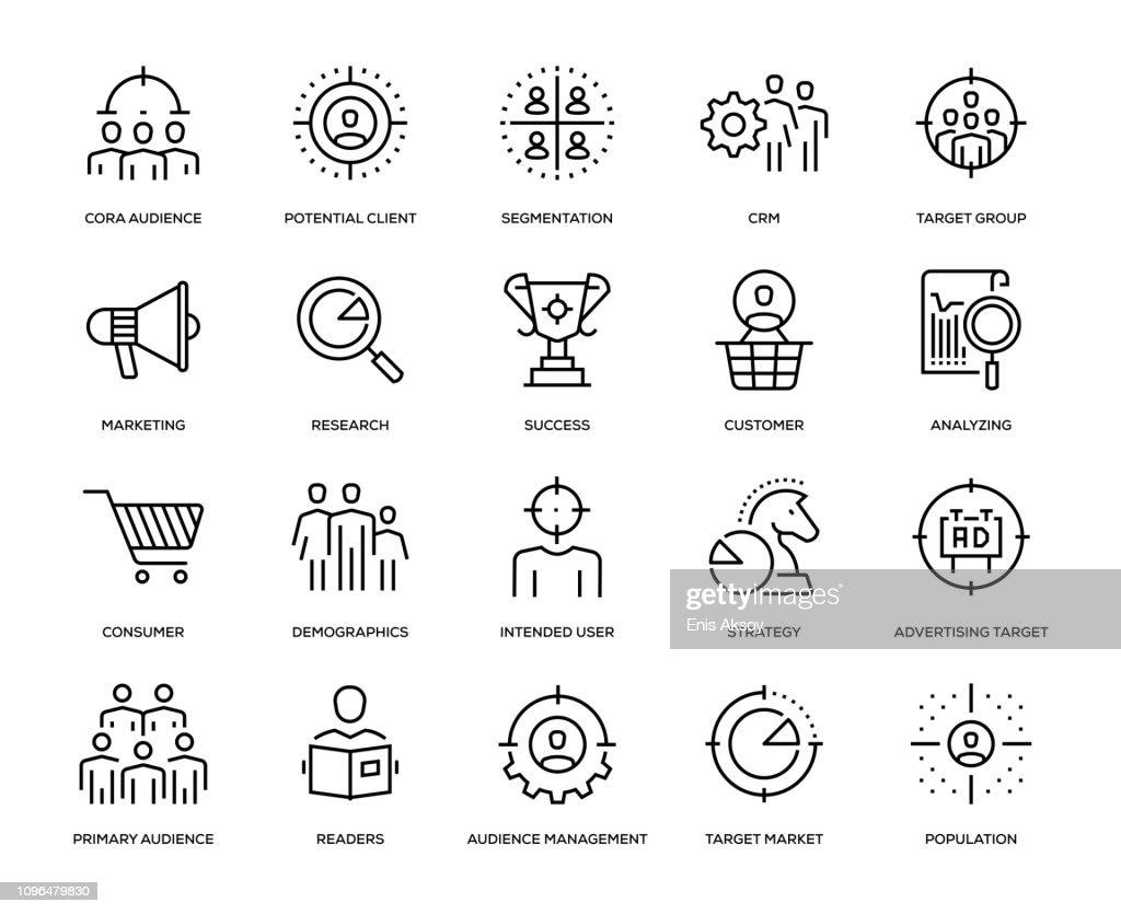 Ziel-Publikum-Icon-Set : Stock-Illustration