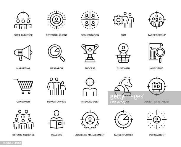 target audience icon set - consumerism stock illustrations