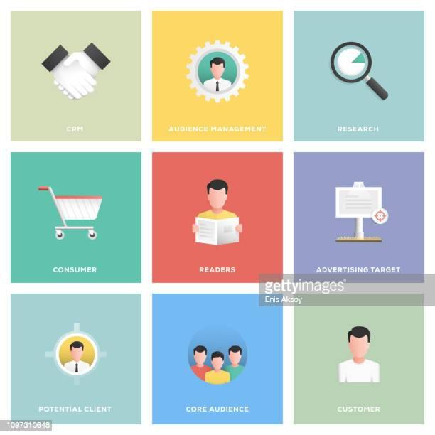 target audience icon set - customised stock illustrations