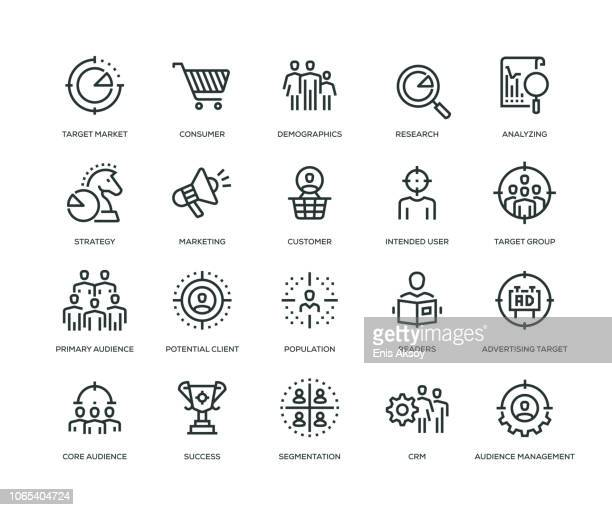 target audience icons - line series - consumerism stock illustrations