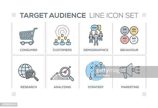 Target Audience keywords with line icons