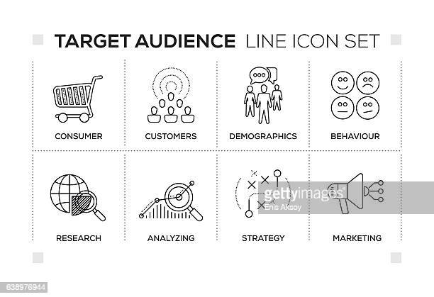 target audience keywords with monochrome line icons - population explosion stock illustrations