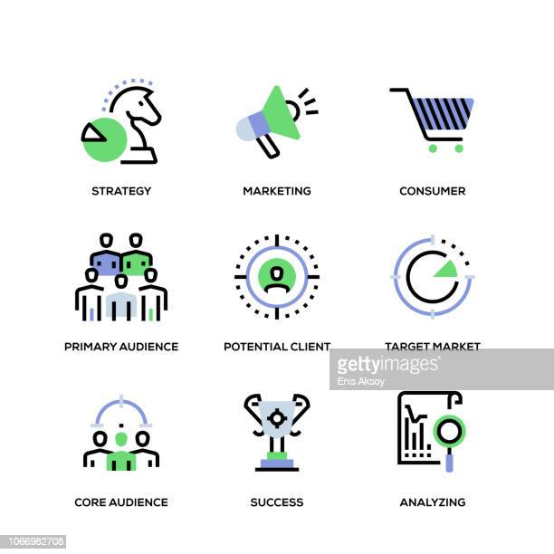 target audience line icon set - population explosion stock illustrations