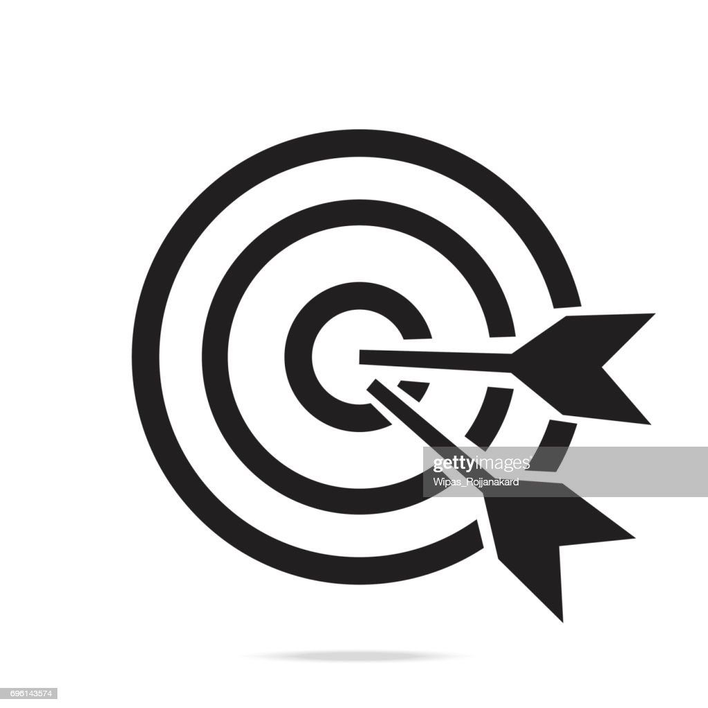 Target bullseye or arrow on target line art icon for apps and websites,black color outline symbol.