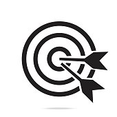 Target bullseye or arrow on target line art icon for apps and websites,black color outline symbol.