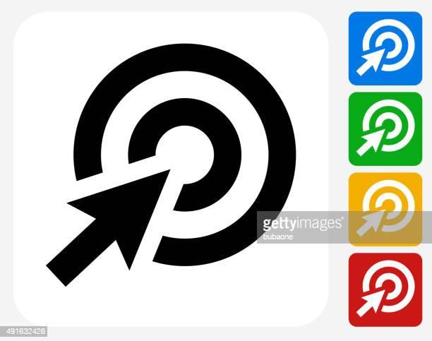 ilustrações, clipart, desenhos animados e ícones de target cursor plana ícone de design gráfico - cursor