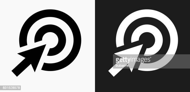 target cursor icon on black and white vector backgrounds - point scoring stock illustrations