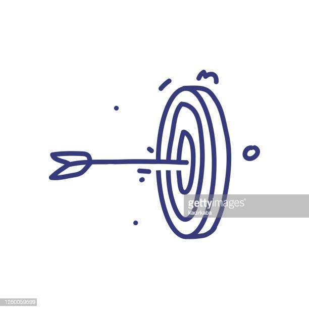 illustrations, cliparts, dessins animés et icônes de concept d'illustration vectorielle de doodle cible. dessiné à la main, icônes de ligne. - détermination intérieure