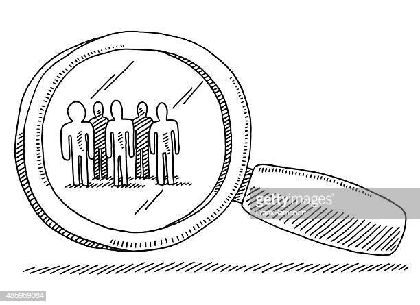 target gruppe von menschen lupe zeichnung - zielgruppe stock-grafiken, -clipart, -cartoons und -symbole