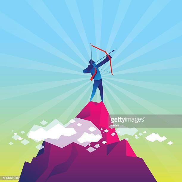 target higher - archery stock illustrations