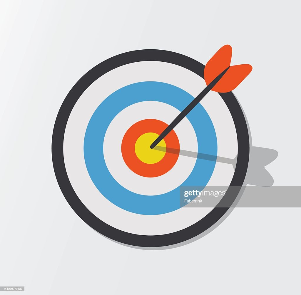Target hit in the center by arrows. Vector icon illustration