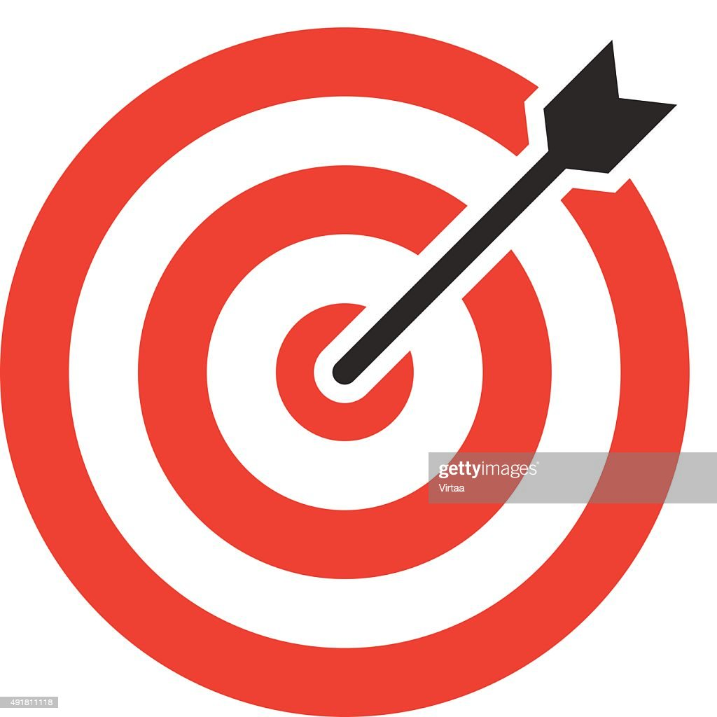 Target icon, modern minimal flat design style. Darts vector illustration