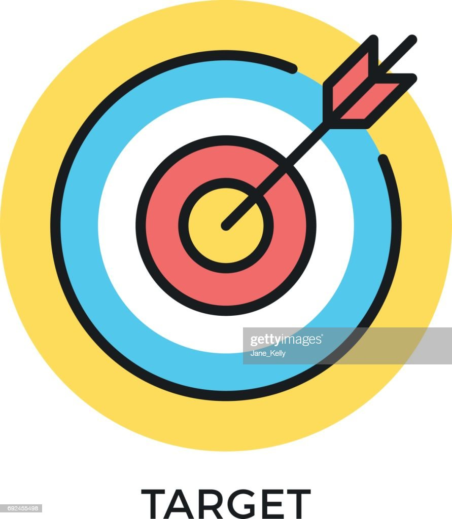 Target icon. Target and arrow symbols. Mission, objective, bull's eye concepts. Modern flat design thin line elements. Vector icon