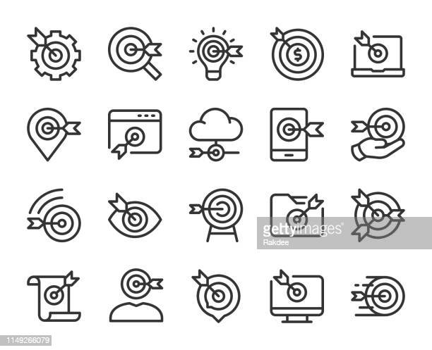 target market - line icons - fasting activity stock illustrations, clip art, cartoons, & icons