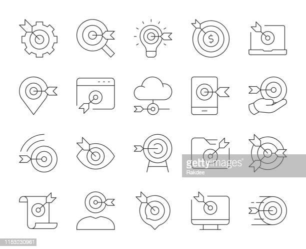 target market - thin line icons - fasting activity stock illustrations, clip art, cartoons, & icons
