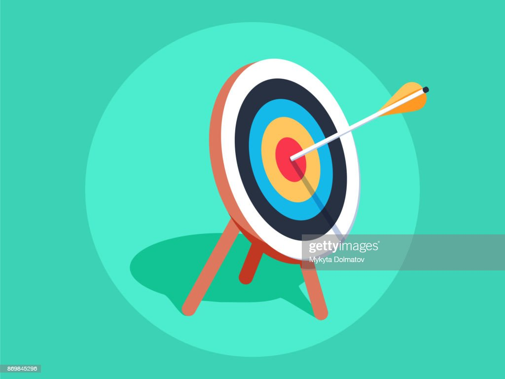 Target on wooden tripod with arrow in cente. Goal setting. Smart goal. Business target concept. Achievement and success.